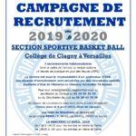 Campagne de recrutement 2019/2020 Section Sportive Scolaire Collège de CLAGNY
